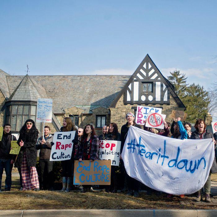 Protestors outside Penn State's Kappa Delta Rho fraternity house.
