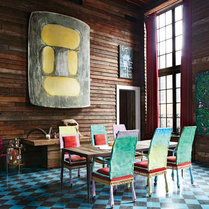 Vito Schnabel's art collection includes Ron Gorchov's <i>5th One</i>, which hangs on the reclaimed-Douglas-fir walls between two Rene Ricard pieces.
