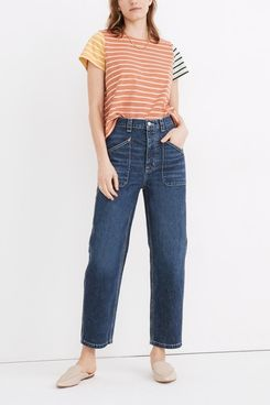 Madewell Rivet & Thread High-Rise Relaxed Straight Jeans in Fiske Wash