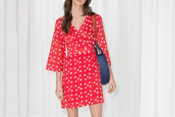 Flare Sleeve Wrap Dress