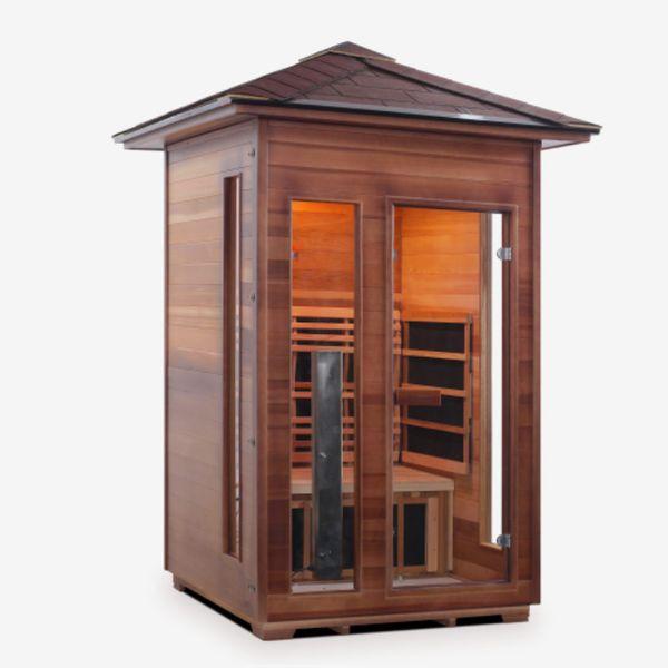 Enlighten Sauna 2 Person Rustic Full Spectrum Infrared Outdoor Sauna