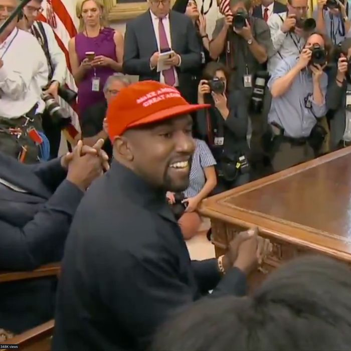 75d4cdc2345 Kanye West Loves the Male Energy of a MAGA Hat