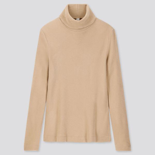 Uniqlo Women's Heattech Fleece Turtleneck Long-Sleeved T-Shirt