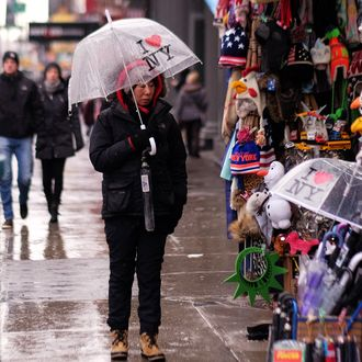 A vendor advertises her products to pedestrians during an icy rain in New York on February 2, 2015. AFP PHOTO/JEWEL SAMAD (Photo credit should read JEWEL SAMAD/AFP/Getty Images)