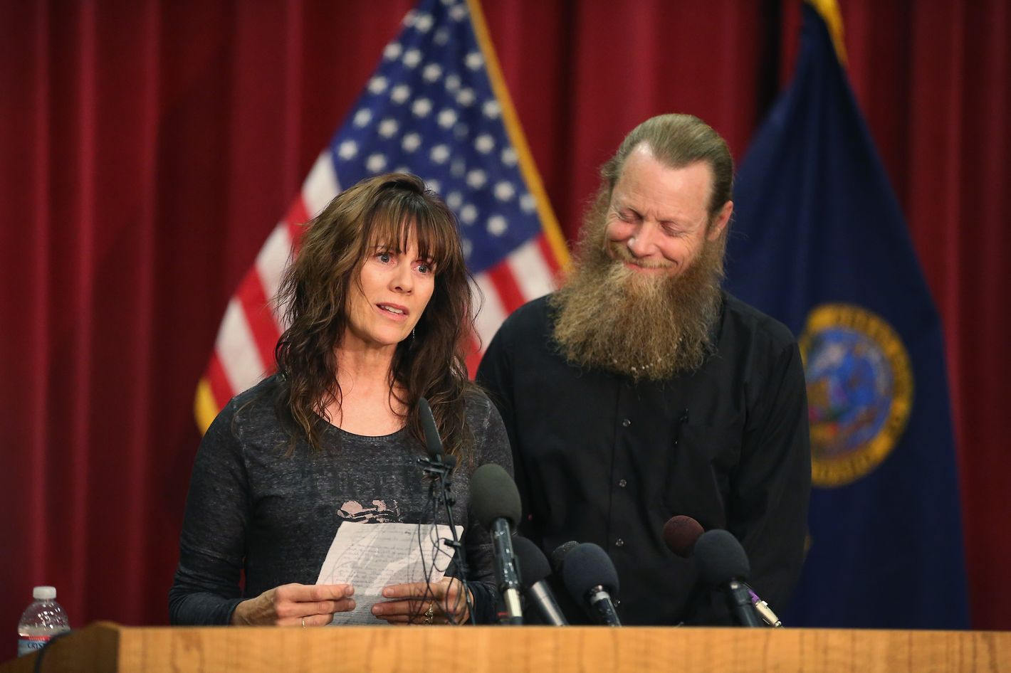 BOISE, ID - JUNE 01:  Bob Bergdahl listens as his wife Jani reads a message to their son Sgt. Bowe Bergdahl during a press conference at Gouen Field national guard training facility on June 1, 2014 in Boise, Idaho. Sgt. Bergdahl who was captured in 2009 while serving with U.S. Army's 501st Parachute Infantry Regiment in Paktika Province, Afghanistan was released yesterday after a swap for Taliban prisoners. Bergdahl was considered the only U.S. prisoner of war held in Afghanistan.  (Photo by Scott Olson/Getty Images)
