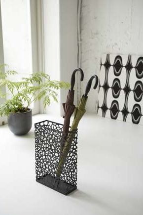 Yamazaki Nest Black Metal Rectangular Umbrella Stand