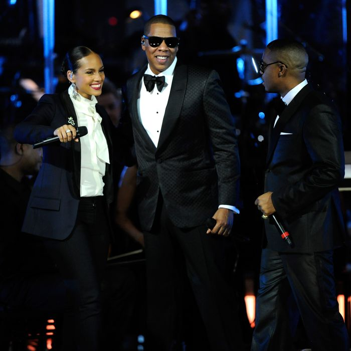 Alicia Keys, Jay-Z and Nas perform at Carnegie Hall to Benefit the United Way of New York City and the Shawn Carter Foundation on February 7, 2012 in New York City.