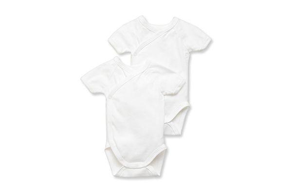 Petit Bateau Unisex Short Sleeve Kimono Bodysuit, 2-Pack