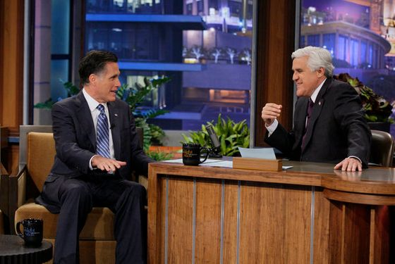 THE TONIGHT SHOW WITH JAY LENO -- Episode 4223 -- Pictured: (l-r) Mitt Romney, Jay Leno on March 27, 2012 -- (Photo by: Paul Drinkwater/NBC)