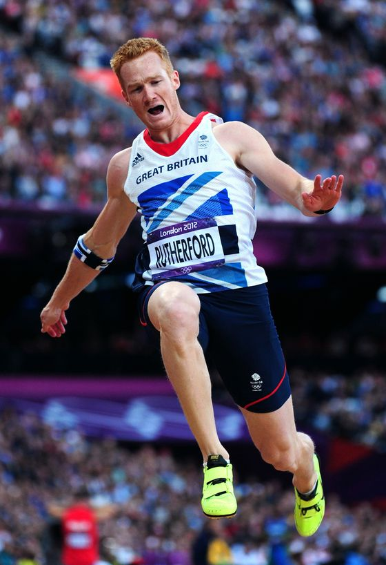 LONDON, ENGLAND - AUGUST 04:  Greg Rutherford of Great Britain competes in the Men's Long Jump Final on Day 8 of the London 2012 Olympic Games at Olympic Stadium on August 4, 2012 in London, England.  (Photo by Stu Forster/Getty Images)