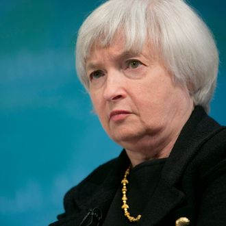 Janet Yellen, vice chairman of the U.S. Federal Reserve, listens at a macro policy discussion during the International Monetary Fund (IMF) and World Bank Group Spring Meetings in Washington, D.C., U.S., on Tuesday, April 16, 2013. The IMF cut its global growth forecast and urged European policy makers to use