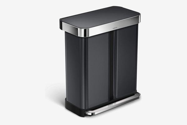 simplehuman Stainless Steel Kitchen Step Trash Can Dual Compartment Recycler with Liner Pocket