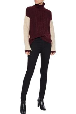 Iris & Ink Almeta Two-Tone Brushed-Knitted Turtleneck Sweater