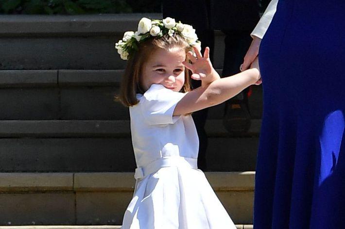 Princess Charlotte at the royal wedding.
