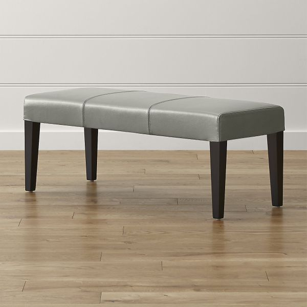 Crate & Barrel Lowe Pewter Leather Backless Bench
