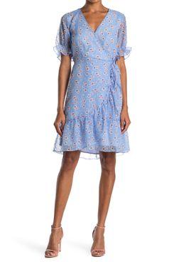 Melloday Floral Ruffle Swiss Dot Wrap Dress
