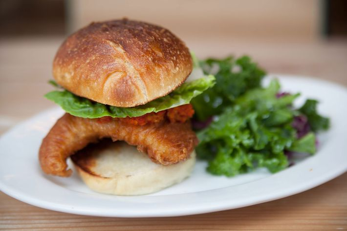 Oh-Boy Sandwich: crispy skate, pickled peppers, special sauce.