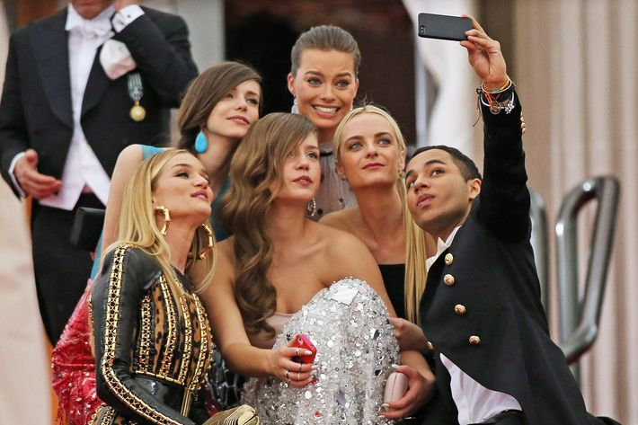 Olivier Rousteing and friends take a selfie at the Met Ball.