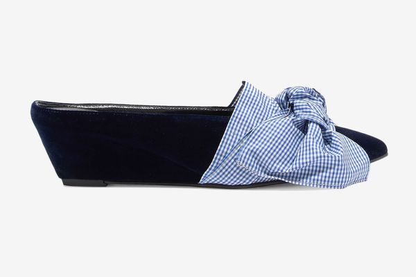 Trademark Adrien Bow-Embellished Velvet Wedge Slippers