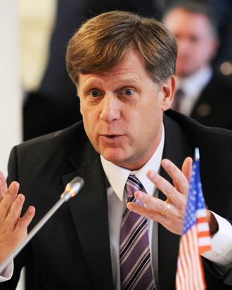 US ambassador to Russia, Michael McFaul speaks as he takes part in a round table discussion on NGO cooperation between the two countries in Moscow, on April 4, 2013.