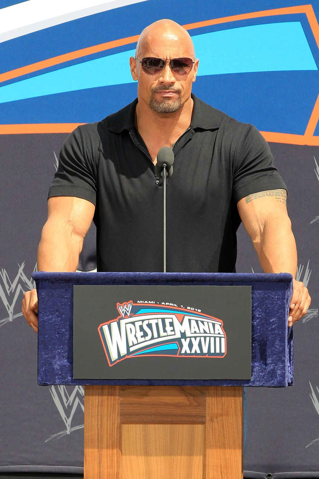 "Dwayne ""The Rock"" Johnson and John Cena come face to face at Wrestlemania XXVIII press conference at the Eden Rock Hotel in South Beach."