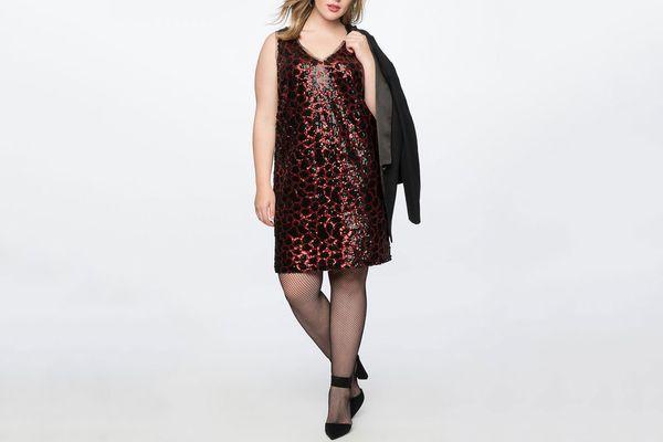 Sequin Leopard Slip Dress