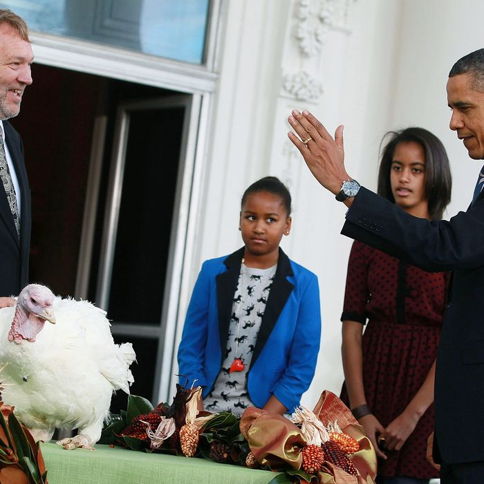 WASHINGTON, DC - NOVEMBER 23: U.S. President Barack Obama is flanked by his daughters Sasha (C), Malia (2nd-R), and National Turkey Federation Chairman Richard Huisinga (L) as he pardons 'Liberty', a 19-week old, 45-pound turkey at the North Portico of the White House November 23, 2011 in Washington, DC. The Presidential pardon of a turkey has been a long time Thanksgiving tradition that dates back to the Harry Truman administration. (Photo by Mark Wilson/Getty Images)