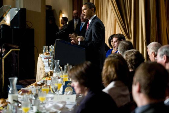 US President Barack Obama speaks during the National Prayer Breakfast at the Washington Hilton in Washington, DC, February 5, 2009.