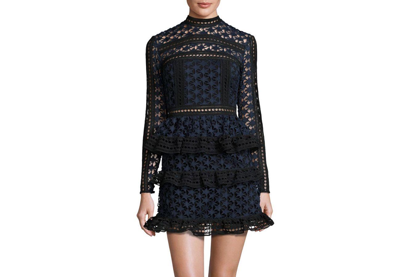 Self-Portrait High Neck Lace Panelled Dress
