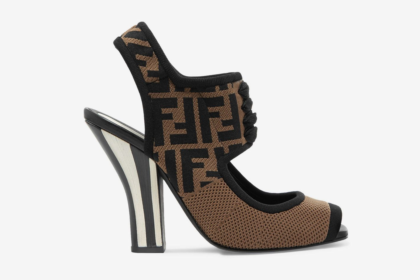 Fendi Logo-jacquard stretch-mesh sandals