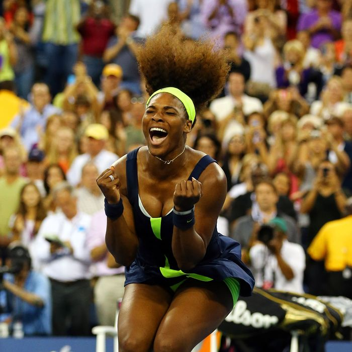 NEW YORK, NY - SEPTEMBER 09: Serena Williams of the United States celebrates match point after defeating Victoria Azarenka of Belarus to win the women's singles final match on Day Fourteen of the 2012 US Open at USTA Billie Jean King National Tennis Center on September 9, 2012 in the Flushing neighborhood of the Queens borough of New York City. (Photo by Al Bello/Getty Images)