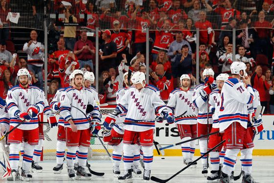 NEWARK, NJ - MAY 25:  The New York Rangers look on after losing Game Six of the Eastern Conference Final during the 2012 NHL Stanley Cup Playoffs to the New Jersey Devils by a score of 3-2 at the Prudential Center on May 25, 2012 in Newark, New Jersey.  (Photo by Bruce Bennett/Getty Images)