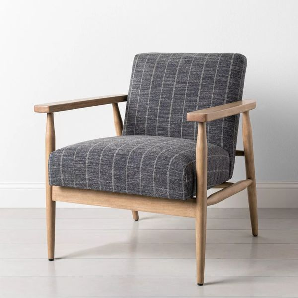 Hearth & Hand Upholstered Natural Wood Accent Chair Dark Gray