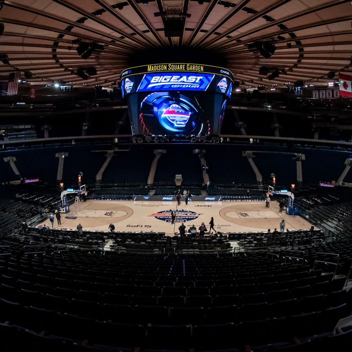 The scene at Madison Square Garden after the Big East tournament was cancelled on March 12.