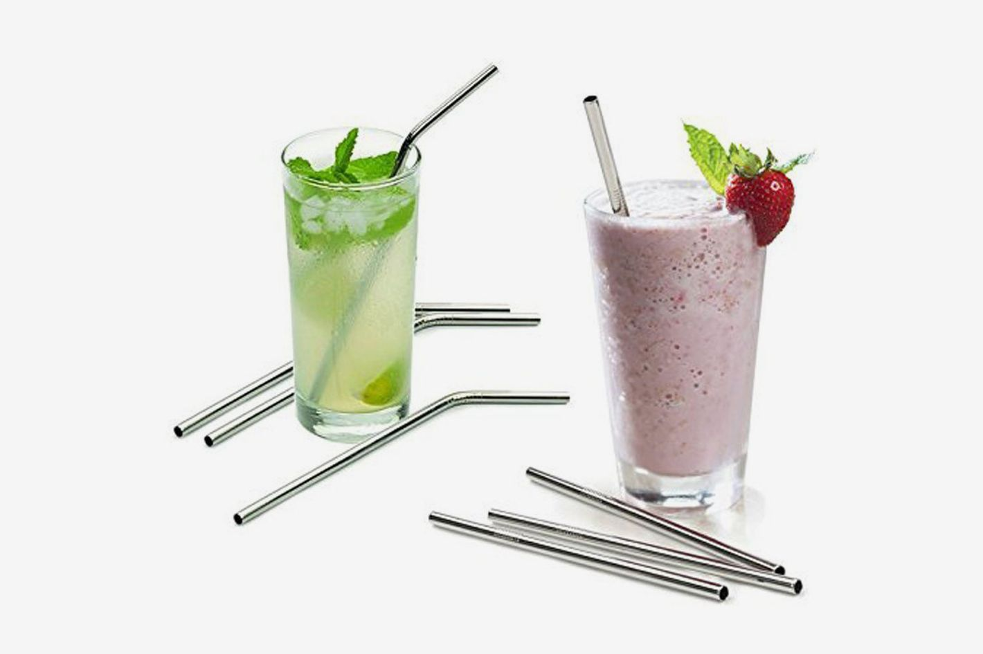"Aoocan Extra Long 10.5"" Drinking Metal Straws"