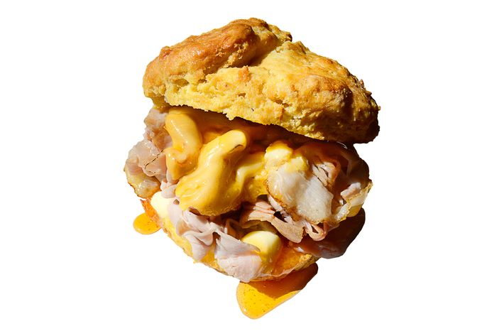 Ham-and-cheese biscuit with housemade ham, L'Amuse Gouda, and Mike's Hot Honey.