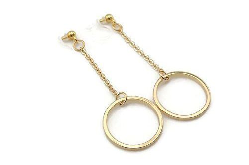 Open Circle Invisible Clip On Dangle Earrings For Non Pierced Ears Gold Tone