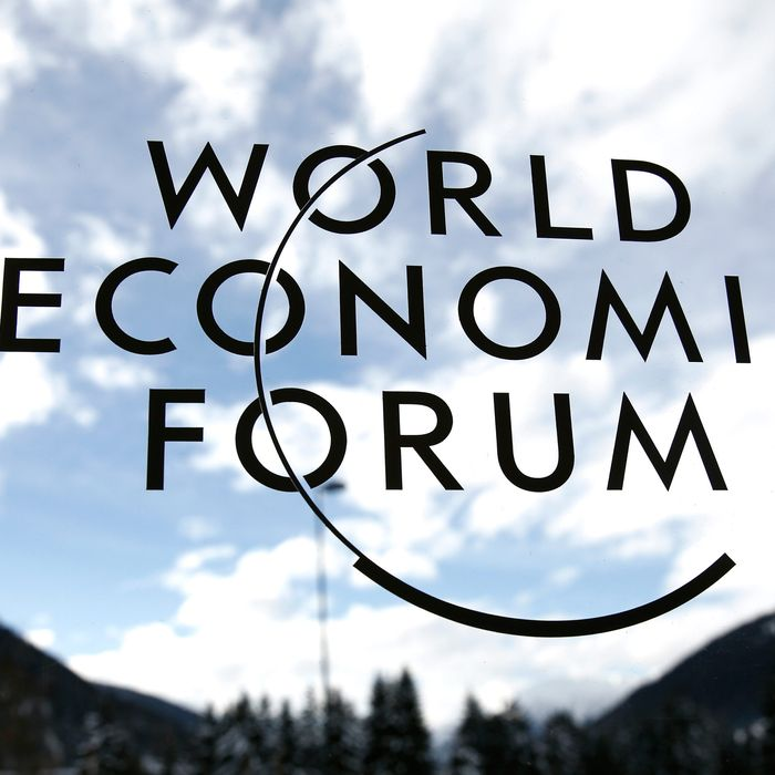 The World Economic Forum's (WEF) logo is displayed on a window inside the Congress Center ahead of the meeting in Davos, Switzerland, on Sunday, Jan. 19, 2014.