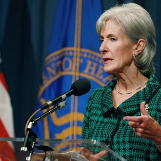 Health and Human Services Secretary Kathleen Sebelius speaks during a news conference, on November 14, 2011 in Washington, DC. Secretary Sebelius announced a one billion dollar health care challenge to be awarded to innovative projects that test creative ways to deliver high quality health care at lower costs.