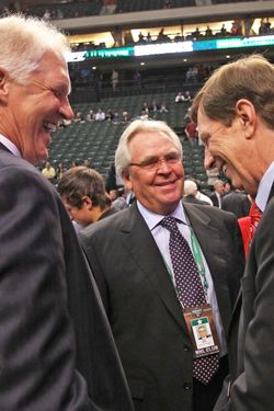 ST PAUL, MN - JUNE 24:  (L-R) Assistant General Manager Jim Schoenfeld of the New York Rangers, General Manager Glen Sather of the New York Rangers and General Manager David Poile of the Nashville Predators share a laugh during day one of the 2011 NHL Entry Draft at Xcel Energy Center on June 24, 2011 in St Paul, Minnesota.  (Photo by Bruce Bennett/Getty Images)