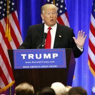 Presumptive Republican presidential nominee Donald Trump speaks at Trump Soho Hotel in New York on June 22, 2016.