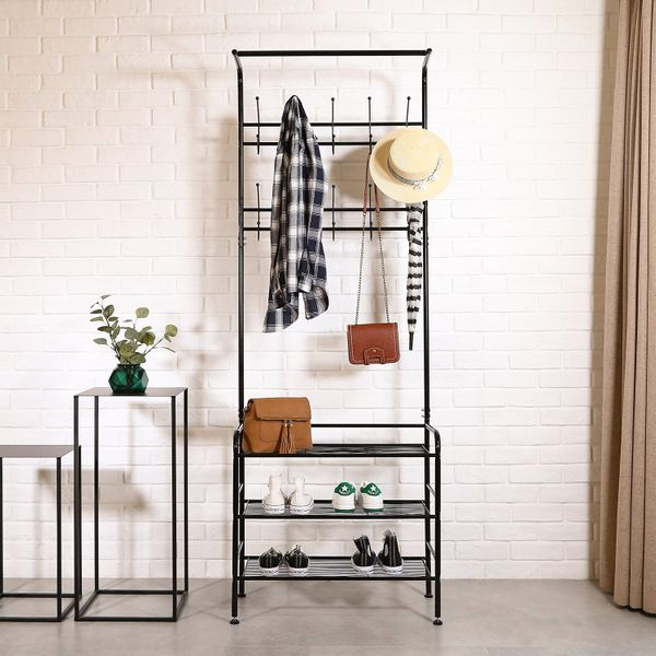 Homfa Metal Entryway Coat Shoe Rack 3-Tier Shoe Bench