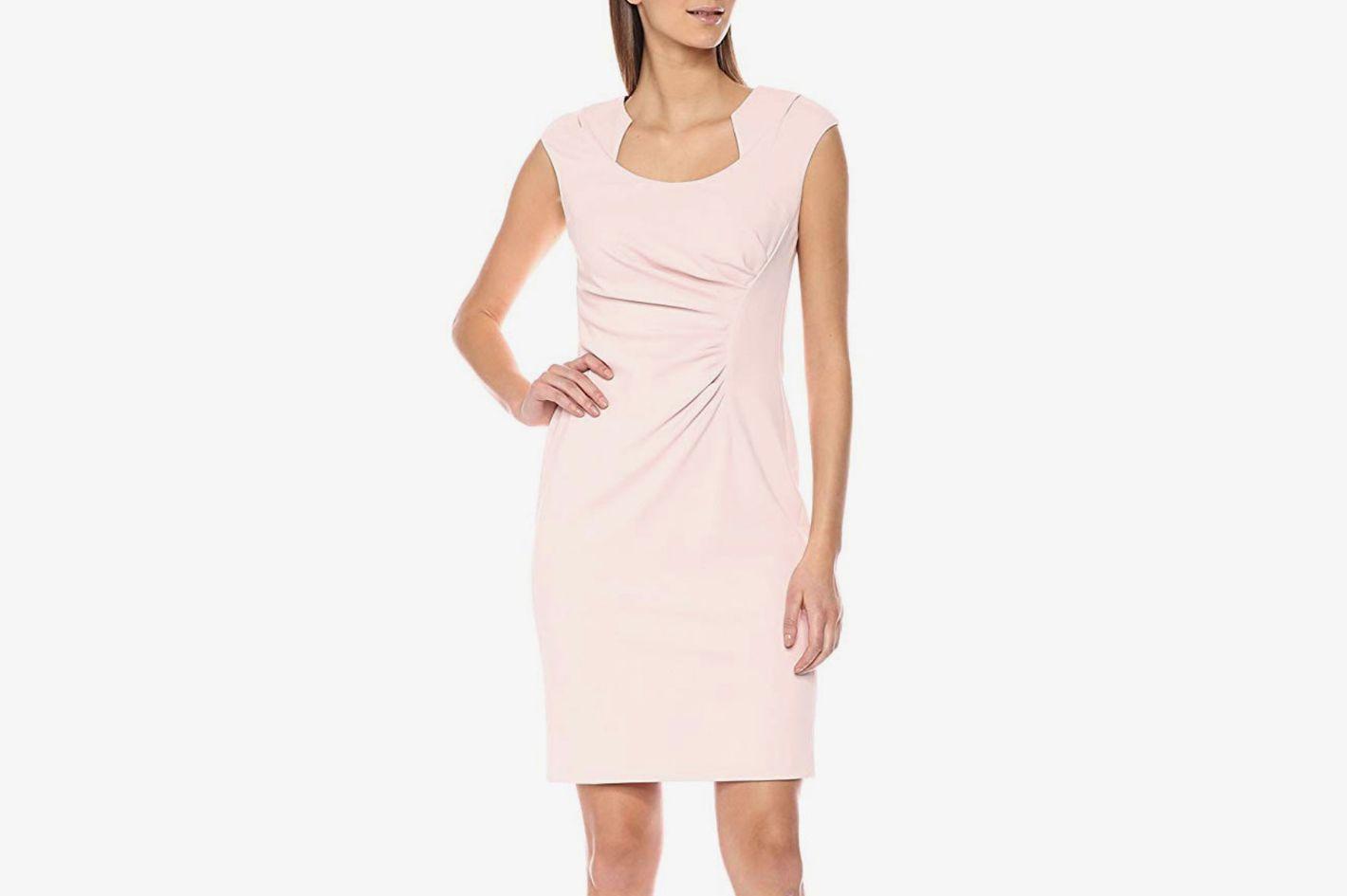 Calvin Klein Cap Sleeved Sheath with Horseshoe Neckline Dress