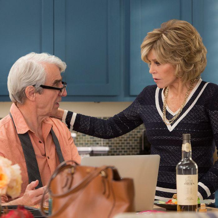 Sam Waterston as Sol, Jane Fonda as Grace.