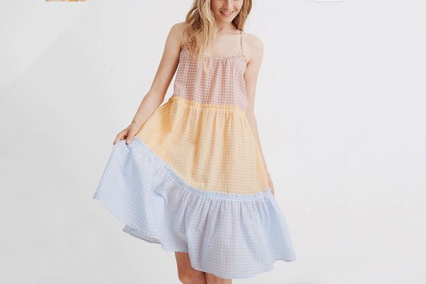 Madewell Tiered Cover-Up Dress in Colorblock Gingham