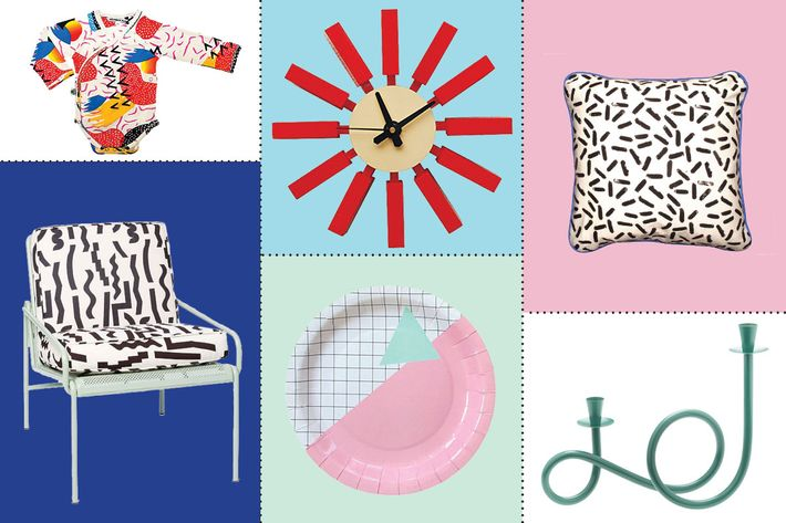 "collage of eric trine + dusen dusen outdoor lounge chair, so sottass pillow, modmade spoke wall clock, memphis grid plates, candelabrum, inchworm alley ""memphis milano heads"" bodysuit onesie - strategist best home decor and best memphis inspired decor"