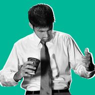 Businessman Spilling Coffee