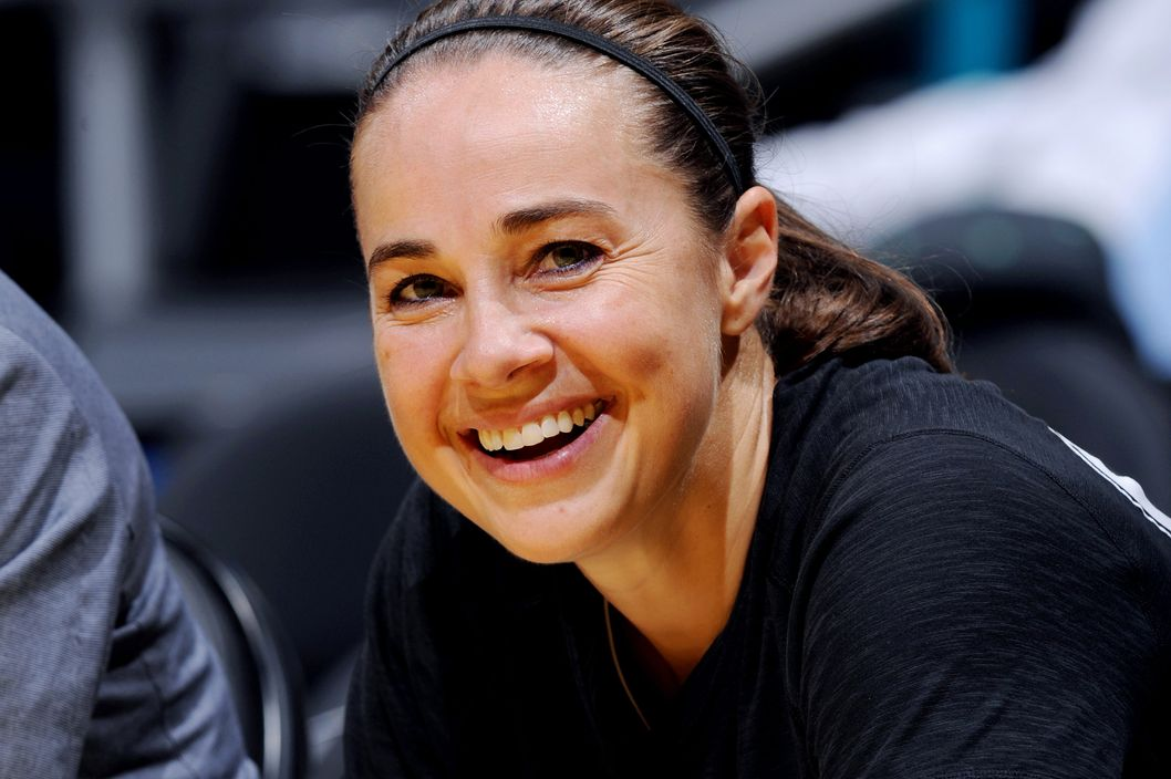 LOS ANGELES, CA - MAY 25: Becky Hammon #25 of the San Antonio Stars smiles from the bench during the game against the Los Angeles Sparks at Staples Center on May 25, 2014 in Los Angeles, California.  NOTE TO USER: User expressly acknowledges and agrees that, by downloading and or using this photograph, User is consenting to the terms and conditions of the Getty Images License Agreement. Mandatory Copyright Notice: Copyright 2014 NBAE  (Photo by Juan Ocampo/NBAE via Getty Images)