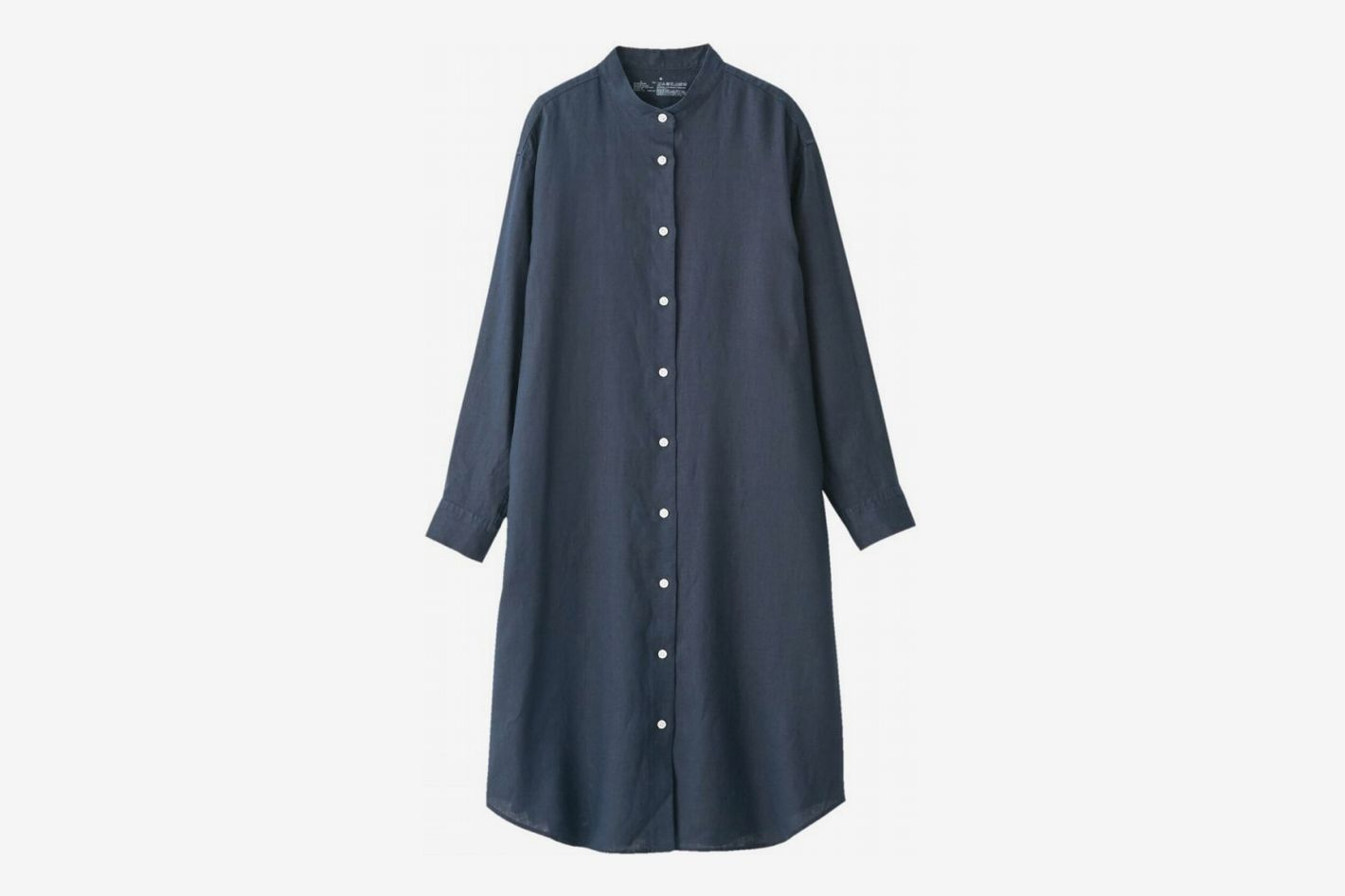 Muji French Linen Washed Stand Collar Dress