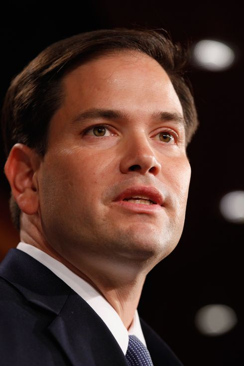 WASHINGTON, DC - MAY 10:  Sen. Marco Rubio (R-FL) speaks during a news conference where he and other Republican Senators introduced a balanced budget proposal at the U.S. Capitol May 10, 2011 in Washington, DC. The proposal will balance the federal budget by 2020, according to its author Sen. Pat Toomey (R-PA).  (Photo by Chip Somodevilla/Getty Images) *** Local Caption *** Marco Rubio;